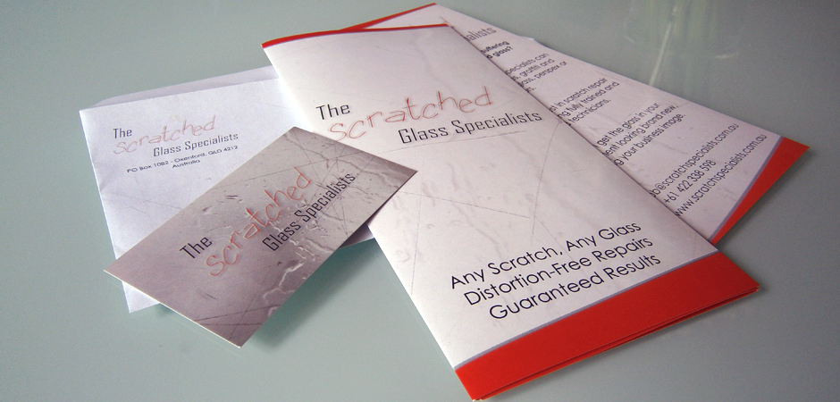 The Scratched Glass Specialists - Printed Material (Flyers, Business Card & Envelope).