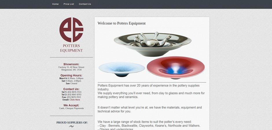 Potters Equipment - Website and Graphic Design